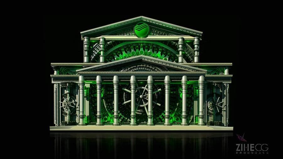 俄罗斯联邦储蓄银行楼体投影Sberbank. Keepers of the Ages