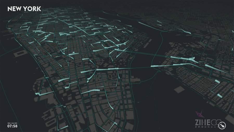 【数据可视化】Processing 流动的城市―city flows 智能单车在城市中的数据